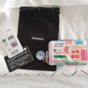 Chanel zip coin wallet